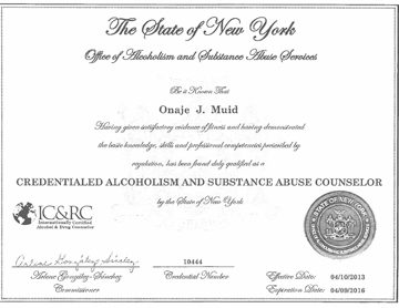 Credentialed Alcoholism and Substance Abuse Counselor