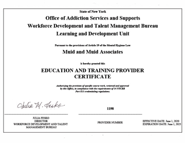 Education and Training Provider Certificate